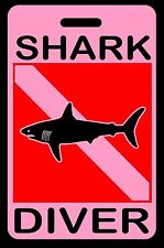 Pink Shark Diver SCUBA Diving Luggage/Gear Bag Tag - New