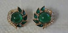 VINTAGE TRIFARI GOLD TONE CLIP ON EARRINGS GREEN STONES AND WHITE CRYSTALS