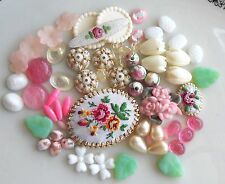 #1641 Vintage Assemblage Lot Beads Flowers Shabby Floral Cabochons Chic Destash