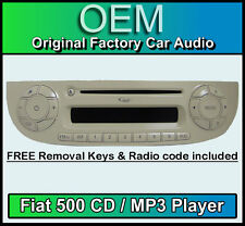 Fiat 500 CD MP3 Player, Fiat 500 Estéreo para Coche color crema con teclas de código de radio &