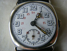 VERY RARE 12/24 HOUR DIAL CUSHION WATCH c1920s PERFECT WORKING ORDER