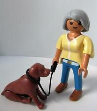Playmobil lady with pointer type dog on lead - dollshouse pet & figure NEW