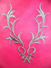 "GB113 Silver Embroidered Applique Patch Motif  4"" IRON ON METALLIC Sewing Crafts"