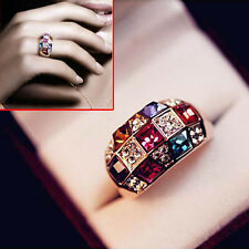 Hot Lovely Elegant Gold Plated Colorful Crystal Rhinestone Shinny Ring Jewelry
