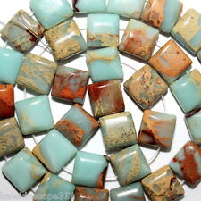 AQUA TERRA JASPER BEADS DOUBLE 2 HOLE BEAD SQUARE 10MM