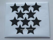 10 X EDIBLE BLACK GLITTER STARS. CAKE DECORATIONS - LARGE 4cm