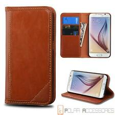 Brown Genuine Cowhide Leather Wallet Case Pouch For SAMSUNG Galaxy S6/G920