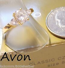1997 AVON CLASSIC CZ RING,Oval Solitaire w/2 Trillion-Cut Accent Stones GP 8 NIB