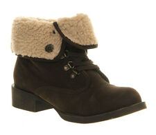 LADIES BLOWFISH KARONA FAUX SUEDE ANKLE BOOTS - UK SIZE 3 - DARK BROWN FAWN.