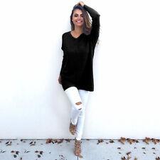 Mujer Cuello En V Punto Grueso Grande Holgada Sudadera Suéter Vestido