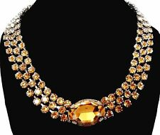 """Signed Christian Dior Necklace Rhodium Plated with Citrine Crystals 90gr New 18"""""""