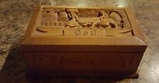 "Vintage ♡ Hand Carved Wooden Box ♡  DAD ♡ Measures 7"" x 2.75"" x  4"""