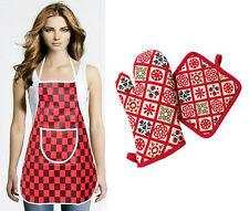 3 Pcs Kitchen Set - Apron Gloves & Pot Holder (Assorted Design & Color)