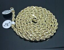 "10K Men's Yellow Gold Rope Chain With Diamond Cuts 4mm 28"" 8.8gm Franco, Italian"