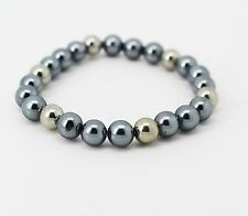 Charter Club Gray 8mm Faux Pearl Stretch Bracelet