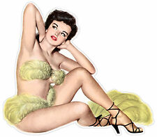 Retrò ragazza sexy retro pin up girl mädchen fille etichetta sticker 12cm x 11cm