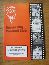 27/08/1980 Lincoln City v Swindon Town [Football League Cup] (Item in very good