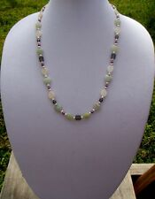 Green Aventurine Hearts, White Shell Teardrops, & Pink Pearls Handmade Necklace