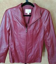 Womens Leather Red Jacket Lambskin Size Small Lined Zipper Worthington Very Soft