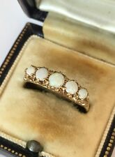 Fine Old Opal Five Stone Eternity Ring In Yellow Gold