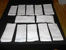 SET LOT of 12 Vintage Antique WHITE IRISH LINEN DOUBLE DAMASK NAPKINS 17x19