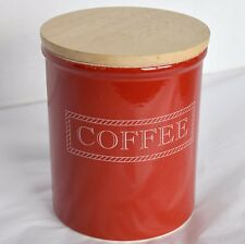 TG Green Pottery Cloverleaf Earthenware Red Coffee Canister Wood Lid Jar Kitchen