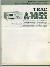 TEAC - A-105S   USER  MANUAL  ORIGINAL BOOK