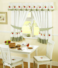 "APPLES AND PEARS GREEN RED GINGHAM KITCHEN CURTAINS W46""  X L42"" INC TIE BACKS"