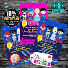 Personalised Birthday Invitations Superhero and Princess Party x 5
