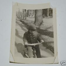 Vintage Classic Child Boy on Tricycle Winter Black & White Photograph Photo Rare