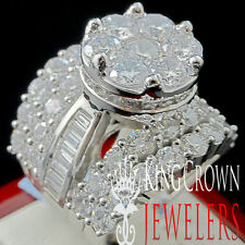 REAL 14K WHITE GOLD SILVER WIDE HUGE LADIES CINDERELLA 4 CT BIG LOOK BRIDAL RING
