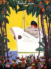 ART PRINT POSTER TRAVEL FRENCH OCEAN LINER SHIP BOAT COLUMBIA JUNGLE NOFL1322