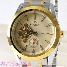 Automatic Mechanical Skeleton Steampunk Silver Gold 2Tone Gents Men Unisex Watch