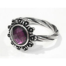 Size 9 925 Solid Sterling Silver Purple Stone Flowers Stacking Dress Ring Band