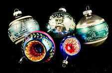 Vintage SHINY BRITE Glass Christmas Ornaments Mixed Set of 5