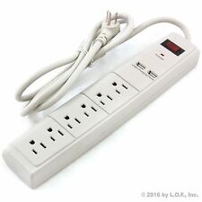 5 FT 6 Outlet Surge Protector 2 USB Port AC Wall Power Strip Right Angle Beige