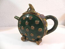 THEIERE FLEUR DE LOTUS BRONZE CLOISONNE chinese teapot lotus flower