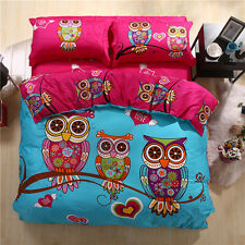 2016 New 100% Cotton Cartoon Queen Size Bed Quilt/Doona/Duvet Cover Set Owls Hot