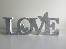 * NEW VINTAGE SPARKLE DECORATIVE WOODEN LOVE sign plaque white butterfly home .