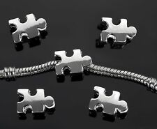 2PCs Autism Awareness Jigsaw Puzzle Piece Bead For European Charm Bracelets
