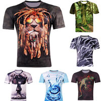 Neu Hot Herren Sommer multicolor 3D Tee Short Sleeve Hiphop Top T-shirt Gr.M-4XL