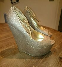 CARVELA by Kurt Geiger KG Gold Glitter Peep Toe Wedge Shoes Size 39 Uk 6 Heels