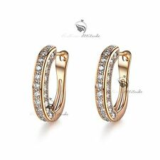 18k yellow gold gf genuine SWAROVSKI crystal luxury huggies earrings