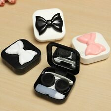 Square Bow Contact Lens Case Travel Kit Easy Carry Mirror Container Holder