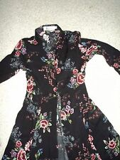 DESIGNER CELEBRITY STYLE BEBE FLORAL BUTTON DOWN LONG SLEEVE MAXI DRESS 0 NWOT