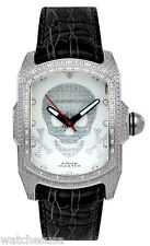 Aqua Master Men's Silver-tone Dial Leather Band .24ct Diamonds Watch W#63