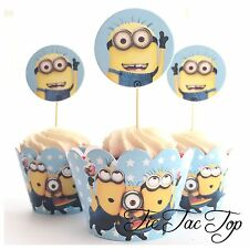 12 pcs Minions Cupcake Toppers + Wrappers. Cake Jelly Cups **Superb Quality**