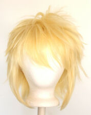 13'' Shaggy Messy w/ Long Bangs Flaxen Blonde Visual Kei Cosplay Wig NEW