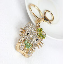 Heart Green Butterfly Cat Crystal Charm Pendant Key Chain Keyring Accessorie Gif