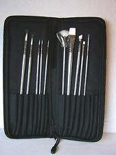 10 major brushes superior quality watercolour artist brush set complete in case
